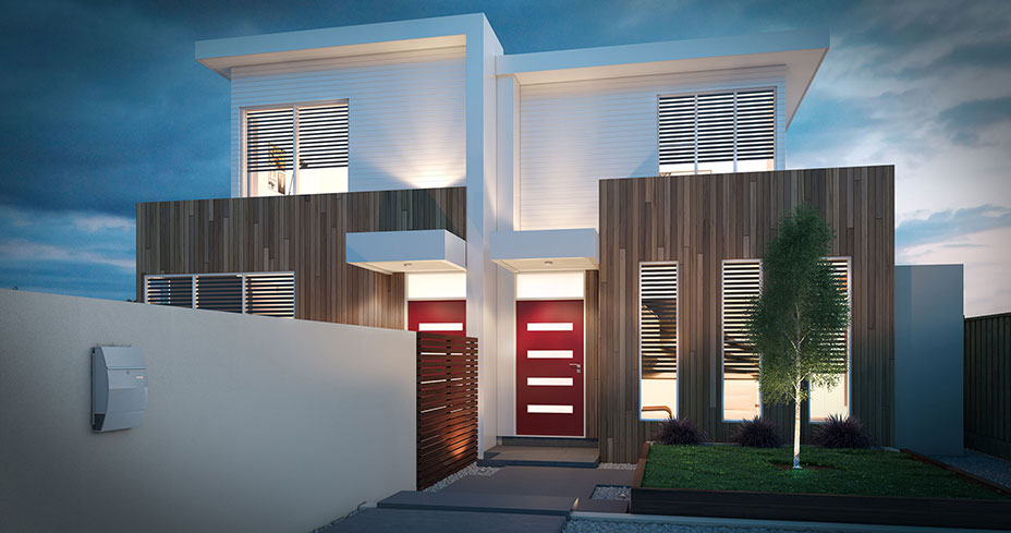 Hawthorn destination living for Dual occupancy home designs corner block