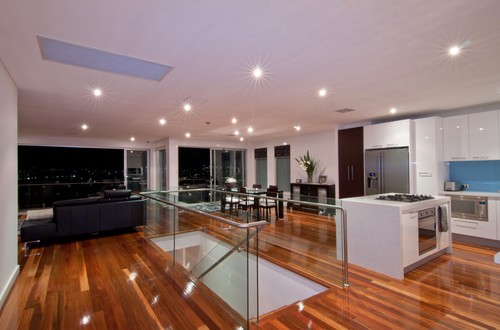 Contemporary Living Room & Kitchen