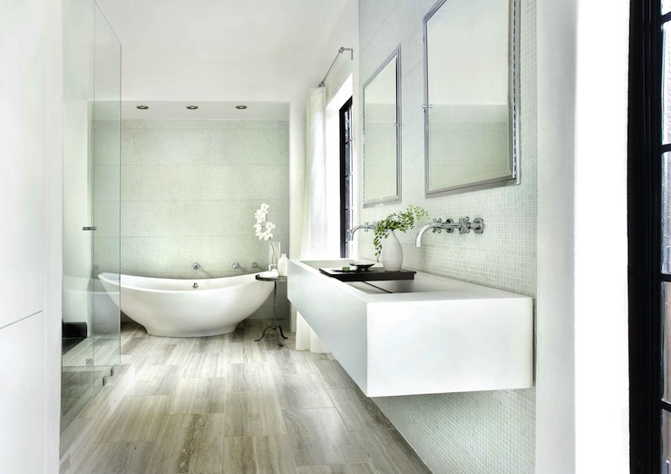 Floating bathroom double vanity - Travertine Classical Beauty With Modern Appeal Destination Living