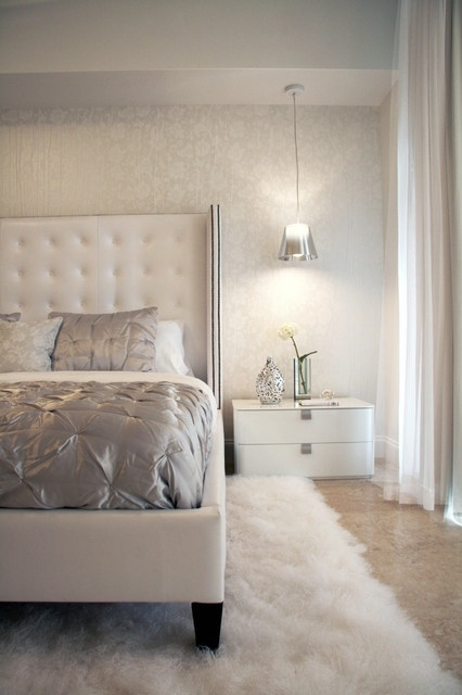 white and silver bedroom