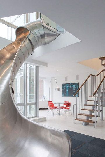 Ultra Modern Staircase And Metal Slide