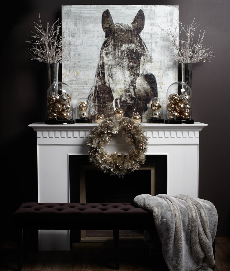 Christmas Mantle With Horse Print, Tall Vases, Branches And Ornaments