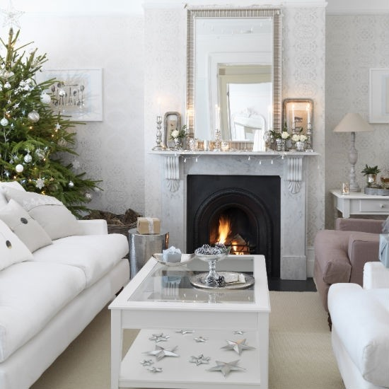 White Themed Christmas Interior