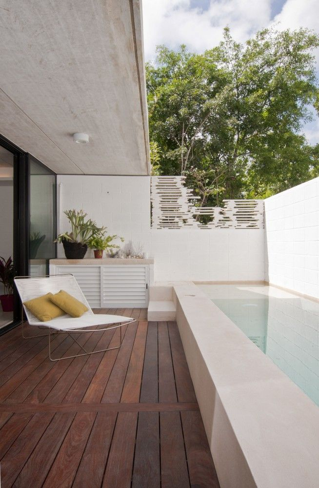 Balcony with small lap pool
