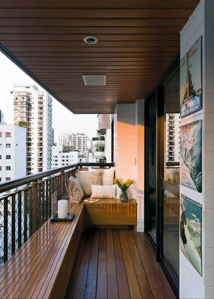 Interior decoration ideas for balconies big small for Balcony ceiling