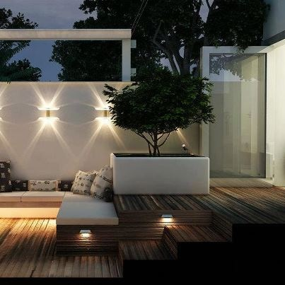 raised contemporary planter with fabulous garden & patio lighting