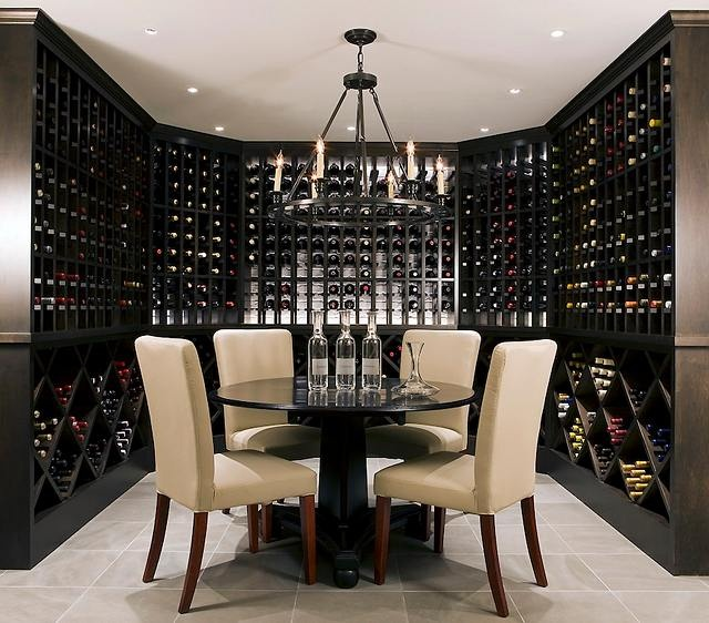 Dark Wood with Light Ceiling Wine Cellar