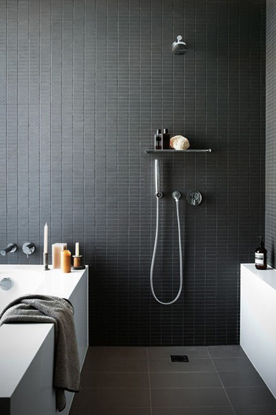 Modern Grey Bathroom Mixed With Black And Timber.