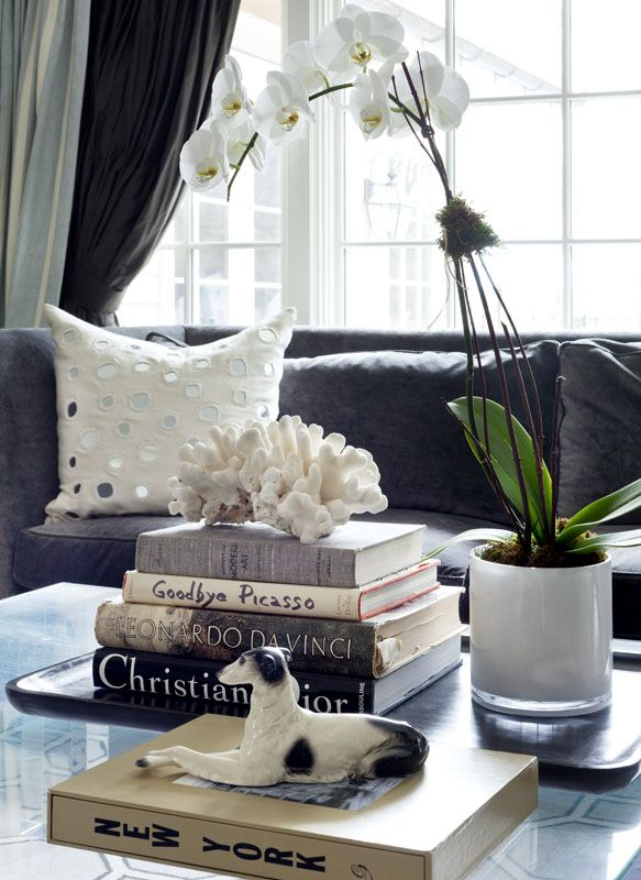 Coffee Table Decoration - Books and Flowers