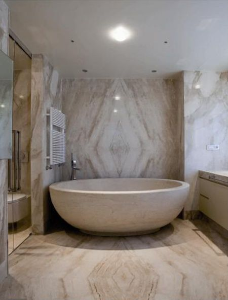 Stone wall and Bathtub