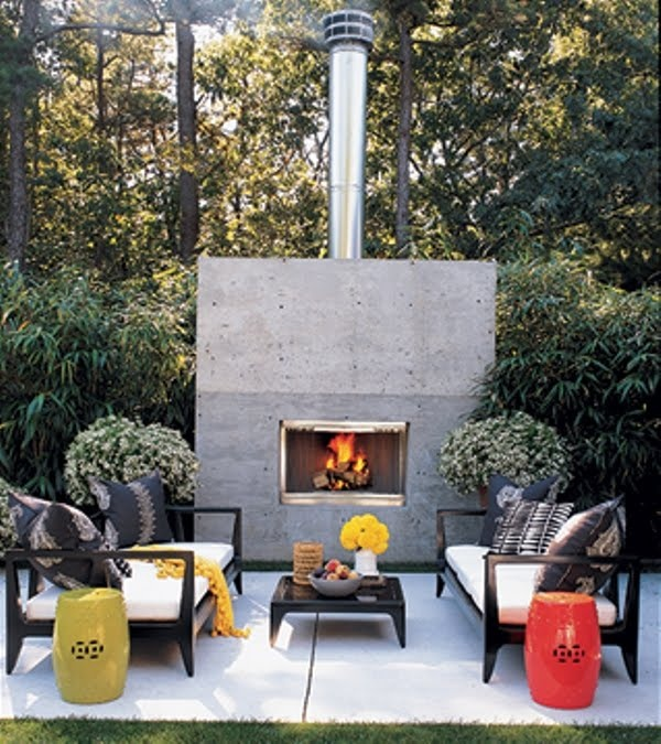 Cosy outdoor living area with fireplace