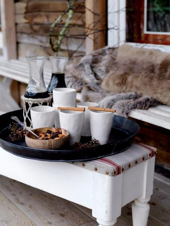 Warm drinks for outdoor with cinnamon