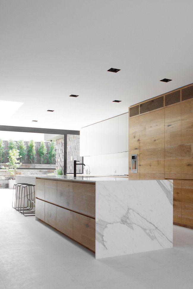 2 timber and marble kitchen storage