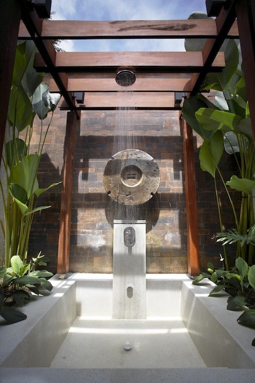 Resort style living destination living for Outdoor shower floor ideas