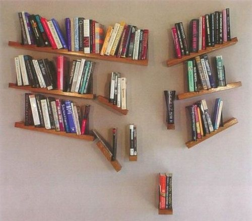 13 creative book shelves-wall art