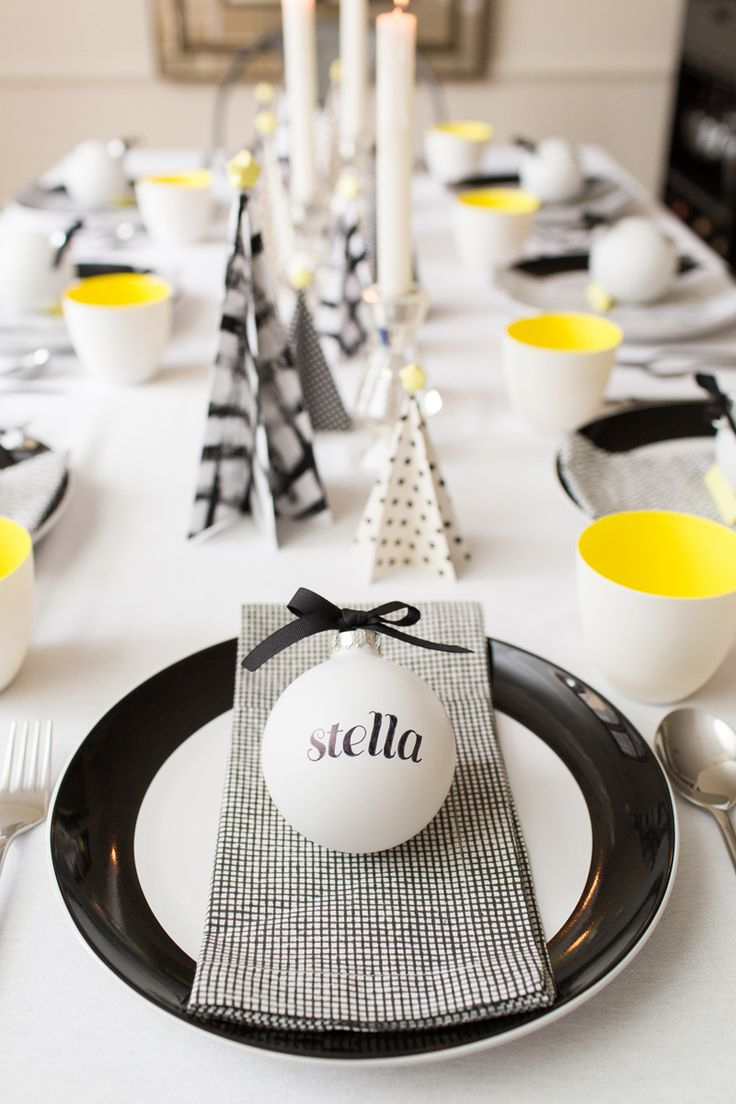 6 white, black & yellow christmas table decorations