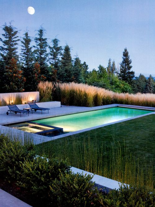 8 lit pool in grass