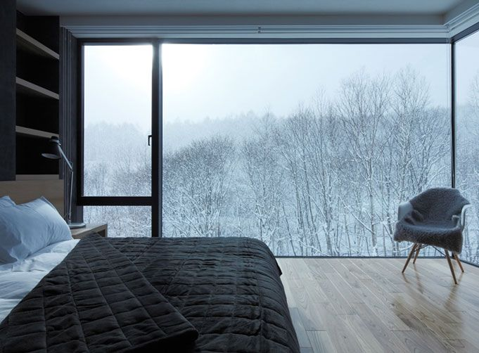 24 glass wall bedroom snow