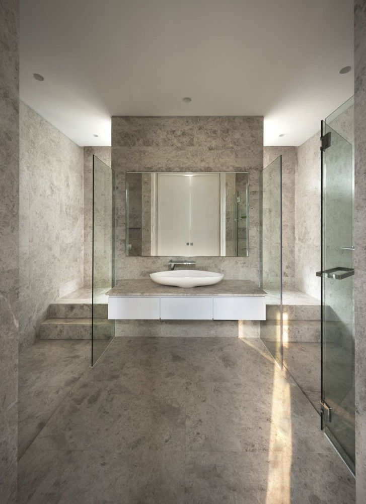 Bathroom with marble walls and floors