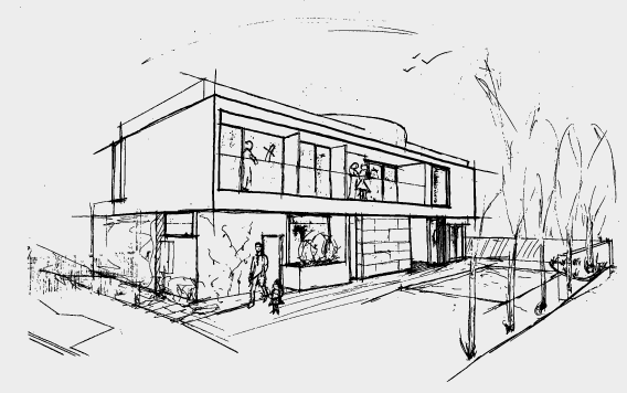 A sketch of a custom designed house by Destination Living