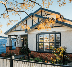 The exterior of a Californian bungalow inspired custom home built by Destination Living