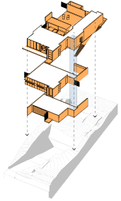 Architectural designs of a three storey house on a sloping block