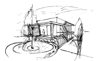An architectural black pen sketch of the look and feel of the exterior of a new home.