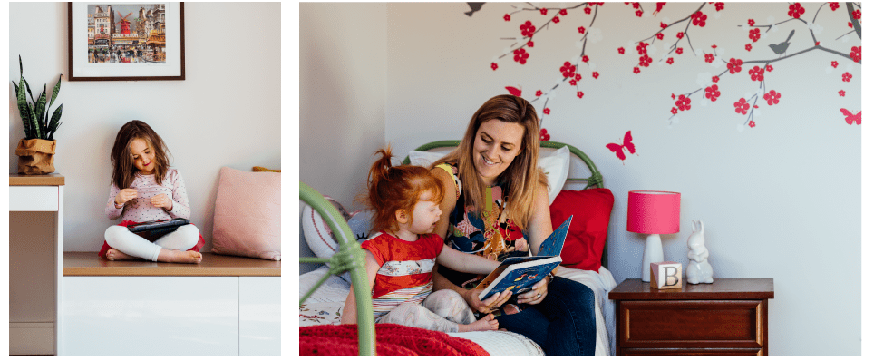 A collage of two images, the one on the left is a young girl sitting in a nook with her iPad and the right is a mother and young daughter reading a book on a bed