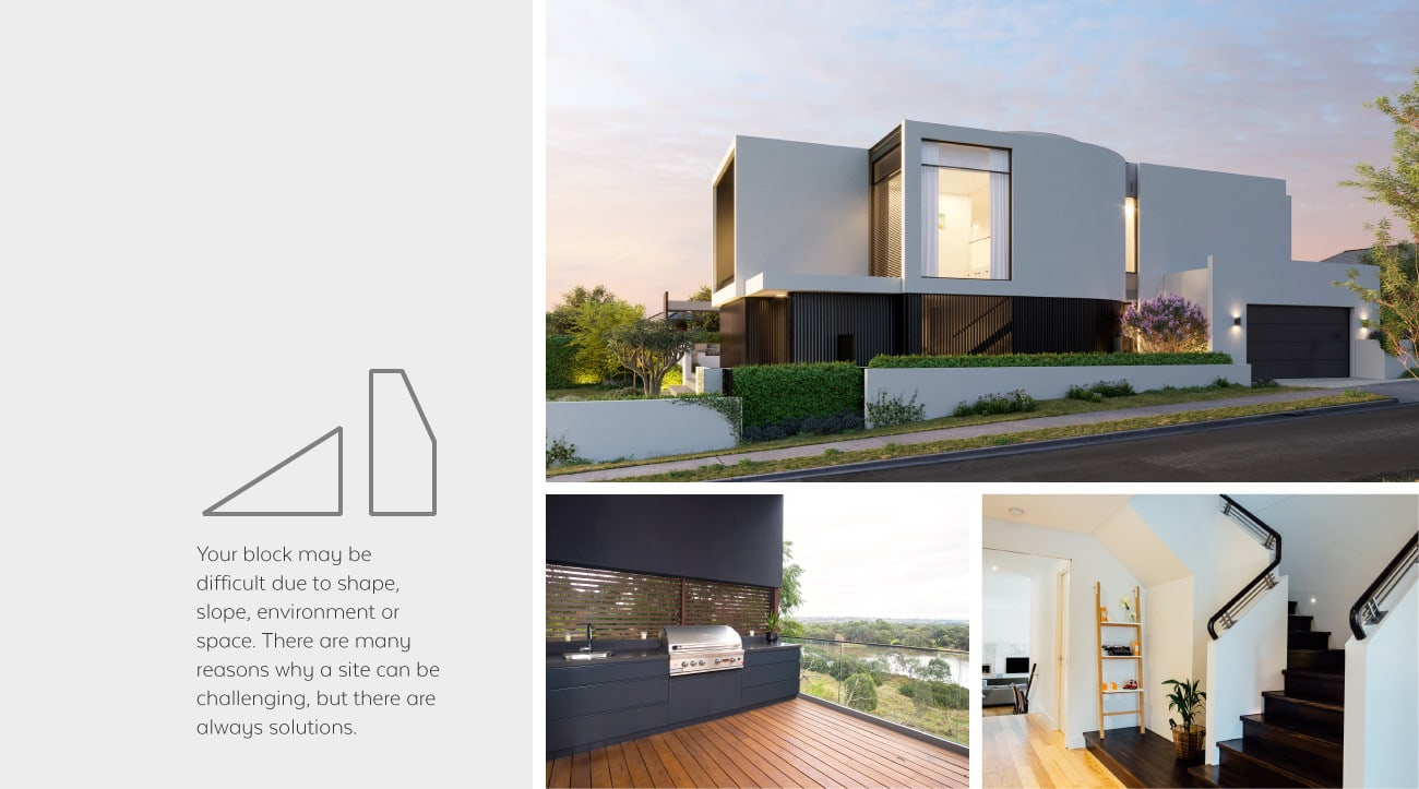 A collage of three images the top is the exterior of a sloping two storey house custom home built by Destination Living the bottom left is a wooden deck and barbecue out looking a nice view of greenery and the bottom right is the hallway of a new home with a dark staircase