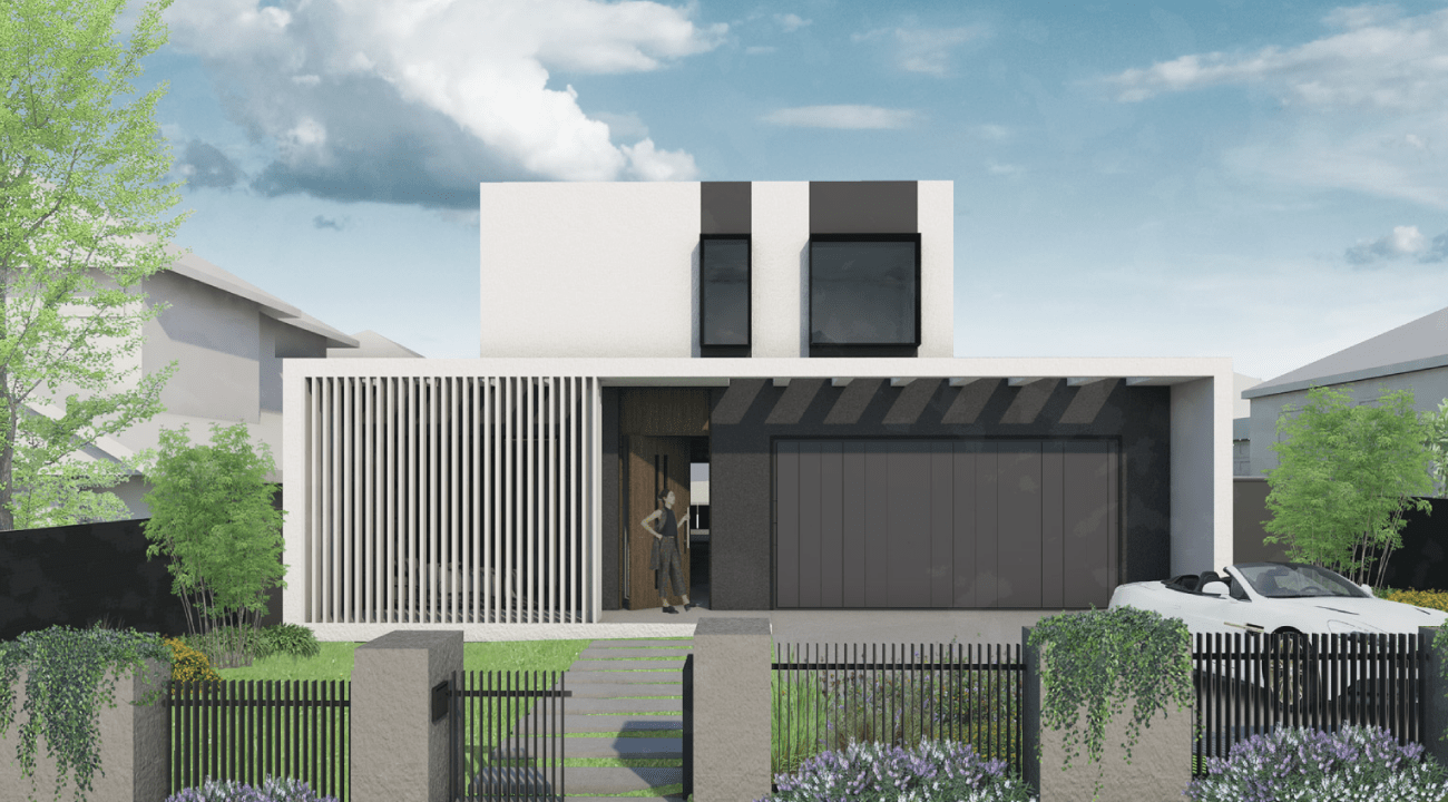 A rendered image of the exterior a custom home designed by Destination Living