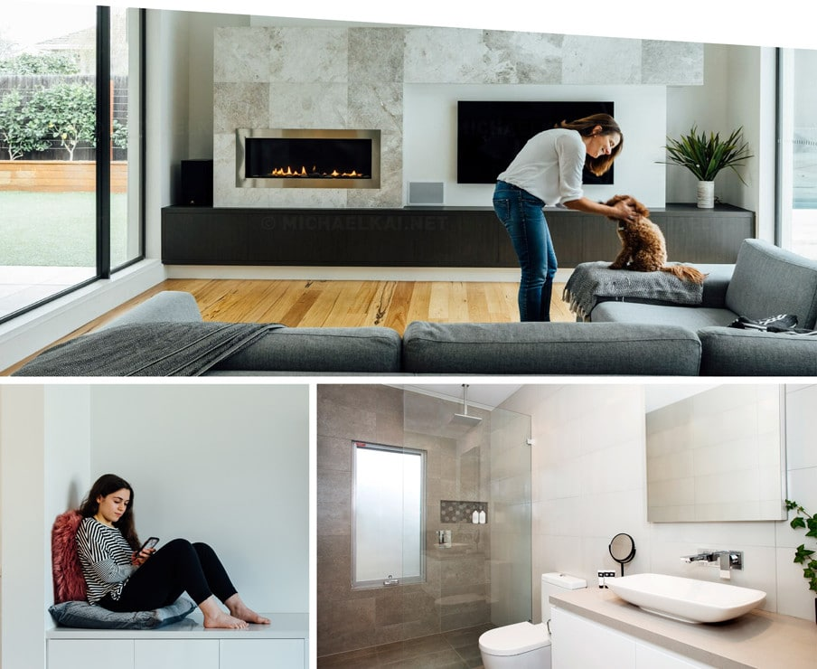 A collage of three images the first is a woman playing with her dog in the living room of her new custom built home by Destination Living the second is a young girl sitting in a nook on her phone and the third is a new bathroom built by Destination Living